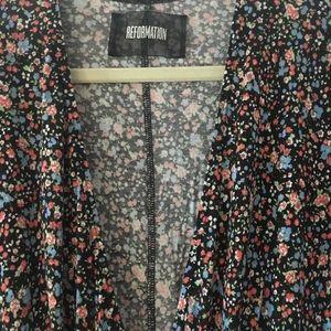 Deep V midi length dress